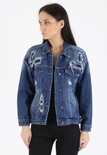 premium selection 081f0 58ab5 Giubbino jeans strass e rotture | Nico